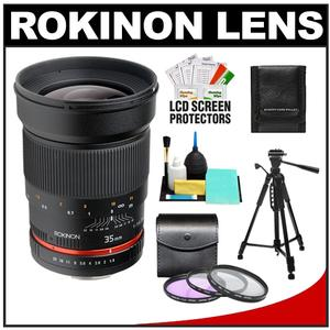 Rokinon 35mm f/1.4 Aspherical Wide Angle Manual Focus Lens (for Sony Alpha Cameras) with Filters + Tripod + Cleaning Kit at Sears.com