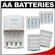 Sanyo eneloop (8) AA 2000mAh Pre-Charged NiMH Rechargeable Batteries & Charger with 2 Precision Design AA Battery Cases