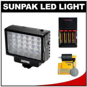 Sunpak LED 30 Camcorder & HDSLR Camera Video Light with Batteries & Charger + Cleaning Kit