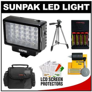 Sunpak LED 30 Camcorder & HDSLR Camera Video Light with Batteries & Charger + Case + Tripod + Cleaning Kit