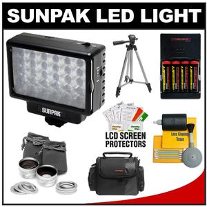 Sunpak LED 30 Camcorder & HDSLR Camera Video Light with Batteries & Charger + Case + Lens Set + Tripod + Cleaning Kit
