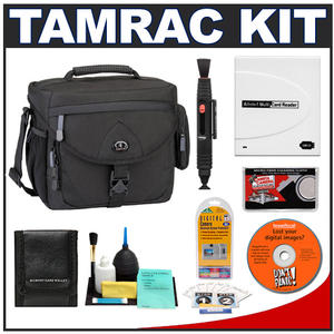 Tamrac 5564 Explorer 400 Digital SLR Camera Bag (Black) with Reader + Cleaning Kit + LCD Protectors + Accessory Kit