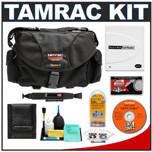 Tamrac 5606 System 6 Pro Digital SLR Camera Bag (Black) with Reader + Cleaning Kit + LCD Protectors + Accessory Kit
