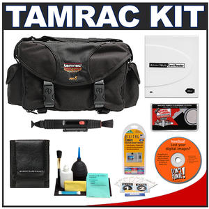 Tamrac 5608 Pro 8 Pro Digital SLR Camera Bag (Black) with Reader + Cleaning Kit + LCD Protectors + Accessory Kit