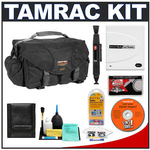 Tamrac 5612 Pro 12 Digital SLR Camera Bag (Black) with Reader + Cleaning Kit + LCD Protectors + Accessory Kit