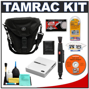 Tamrac 5627 Pro Digital Zoom 7 SLR Bag (Black) with Reader + Cleaning Kit + LCD Protectors + Accessory Kit