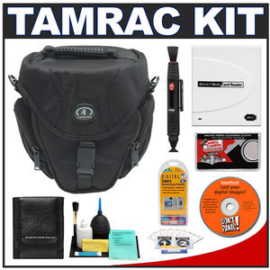 Tamrac 5684 Digital SLR Zoom 4 Bag (Black) with Reader + Cleaning Kit + LCD Protectors + Accessory Kit