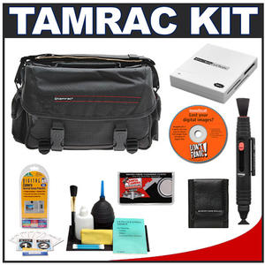 Tamrac 608 Pro System 8 Digital SLR Photography Bag (Black) with Reader + Cleaning Kit + LCD Protectors + Accessory Kit