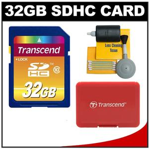 Transcend 32GB HC SecureDigital Class 10 (SDHC) Ultimate Ultra-High-Speed Card with Memory Card Case + Cleaning Kit