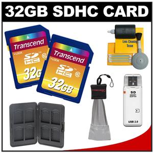 Transcend 32GB HC SecureDigital Class 10 (SDHC) Ultimate Ultra-High-Speed Card (2 PACK) with Memory Card Case + Cleaning Kit