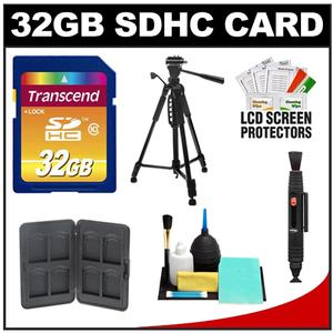 Transcend 32GB HC SecureDigital Class 10 (SDHC) Ultimate Ultra-High-Speed Card with Memory Card Case + Tripod + Cleaning Kit