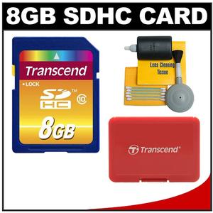 Transcend 8GB HC SecureDigital Class 10 (SDHC) Ultimate Ultra-High-Speed Card with Memory Card Case + Cleaning Kit