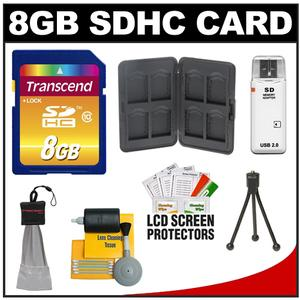 Transcend 8GB HC SecureDigital Class 10 (SDHC) Ultimate Ultra-High-Speed Card with Memory Card Case + Accessory Kit