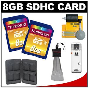 Transcend 8GB HC SecureDigital Class 10 (SDHC) Ultimate Ultra-High-Speed Card (2 PACK) with Memory Card Case + Cleaning Kit