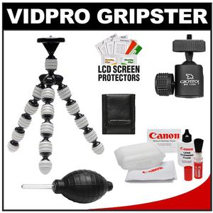 Vidpro GP-22 Gripster II Flexible Digital SLR Camera Tripod with Ball Head + Canon Camera & Lens Cleaning Accessory Kit