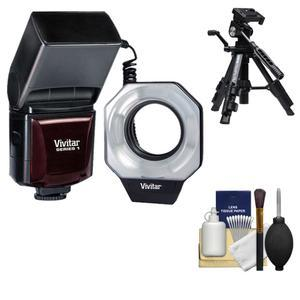Vivitar Dedicated Digital Macro Ring Light Flash - for Canon Cameras - with Tripod + Accessory Kit