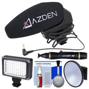 Azden SMX-30 Stereo - Mono Switchable Video Microphone with LED Video Light + Diffuser + Kit