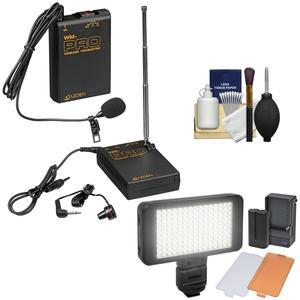 Azden WLX-PRO Wireless Lavalier Lapel Microphone System with LED Video Light and Cleaning Kit