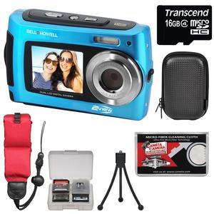 Bell and Howell 2VIEW18 HD Dual Screen Waterproof Digital Camera-Blue-with 16GB Card and Case and Floating Strap and Tripod and Kit