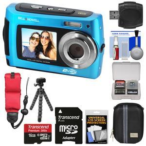 Bell and Howell 2VIEW18 HD Dual Screen Waterproof Digital Camera-Blue-with 16GB Card and Case and Floating Strap and Flex Tripod and Reader and Kit