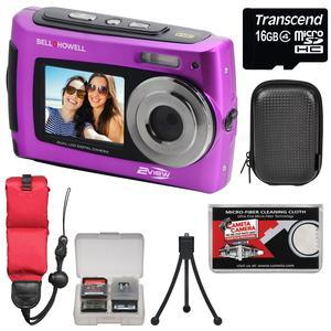Bell and Howell 2VIEW18 HD Dual Screen Waterproof Digital Camera-Purple-with 16GB Card and Case and Floating Strap and Tripod and Kit