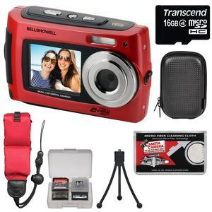Bell and Howell 2VIEW18 HD Dual Screen Waterproof Digital Camera-Red-with 16GB Card and Case and Floating Strap and Tripod and Kit