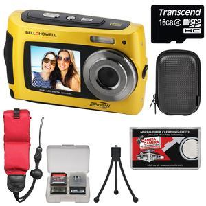 Bell and Howell 2VIEW18 HD Dual Screen Waterproof Digital Camera-Yellow-with 16GB Card and Case and Floating Strap and Tripod and Kit