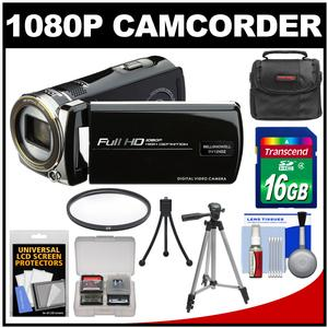 Bell and Howell DV12HDZ 1080p HD Video Camera Camcorder-Black-with 16GB Card and Case and Tripod and Filter and Accessory Kit