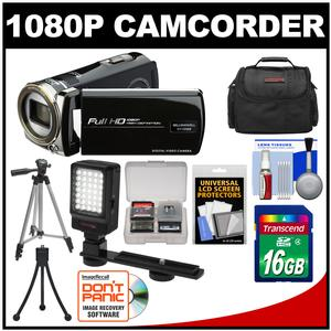 Bell and Howell DV12HDZ 1080p HD Video Camera Camcorder-Black-with 16GB Card and Case and Tripod and LED Video Light and Kit