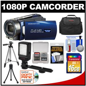 Bell & Howell DNV16HDZ 1080p HD Video Camera Camcorder with Infrared Night Vision (Blue) with 16GB Card + Case + Tripod + LED Video Light + Accessory Kit