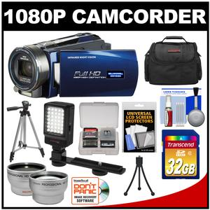 Bell & Howell DNV16HDZ 1080p HD Video Camera Camcorder with Infrared Night Vision (Blue) with 32GB Card + Case + Tripod + Video Light + Wide Angle/Telephoto Lenses + Accessory Kit