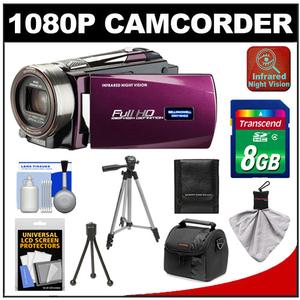 Bell & Howell DNV16HDZ 1080p HD Video Camera Camcorder with Infrared Night Vision (Maroon) with 8GB Card + Case + Tripod + Accessory Kit
