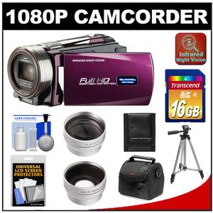 Bell & Howell DNV16HDZ 1080p HD Video Camera Camcorder with Infrared Night Vision (Maroon) with 16GB Card + Case + Tripod + Wide Angle & Telephoto Lenses + Accessory Kit