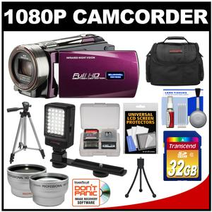 Bell & Howell DNV16HDZ 1080p HD Video Camera Camcorder with Infrared Night Vision (Maroon) with 32GB Card + Case + Tripod + Video Light + Wide Angle/Telephoto Lenses + Accessory Kit