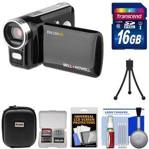 Bell & Howell DV200HD HD Video Camera Camcorder with Built-in Video Light with 16GB Card + Case + Mini Tripod + Accessory Kit