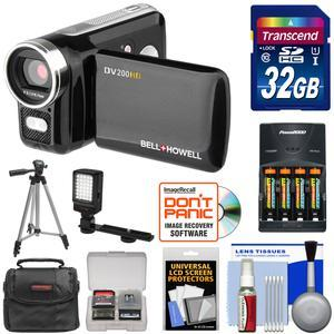 Bell and Howell DV200HD HD Video Camera Camcorder with Built-in Video Light with 32GB Card and Batteries and Charger and LED Light and Tripod and Kit