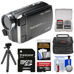 Bell and Howell DV30HD 1080p HD Video Camera Camcorder-Black-with 16GB Card and Case and Flex Tripod and Kit