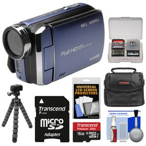 Bell and Howell DV30HD 1080p HD Video Camera Camcorder-Blue-with 16GB Card and Case and Flex Tripod and Kit