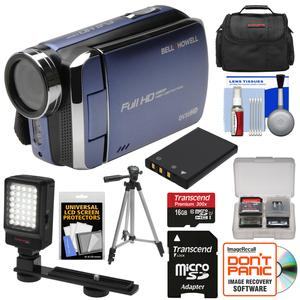 Bell and Howell DV30HD 1080p HD Video Camera Camcorder-Blue-with 16GB Card and Battery and Case and Tripod and LED Video Light and Kit
