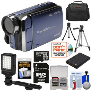 Bell and Howell DV30HD 1080p HD Video Camera Camcorder-Blue-with 32GB Card and Battery and Case and Tripods and LED Video Light and Kit