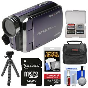 Bell and Howell DV30HD 1080p HD Video Camera Camcorder-Purple-with 16GB Card and Case and Flex Tripod and Kit