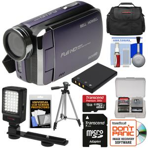 Bell and Howell DV30HD 1080p HD Video Camera Camcorder-Purple-with 16GB Card and Battery and Case and Tripod and LED Video Light and Kit
