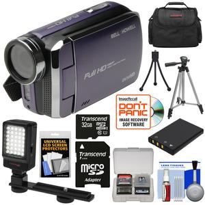 Bell and Howell DV30HD 1080p HD Video Camera Camcorder-Purple-with 32GB Card and Battery and Case and Tripods and LED Video Light and Kit
