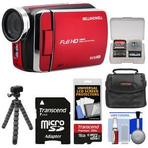 Bell and Howell DV30HD 1080p HD Video Camera Camcorder-Red-with 16GB Card and Case and Flex Tripod and Kit