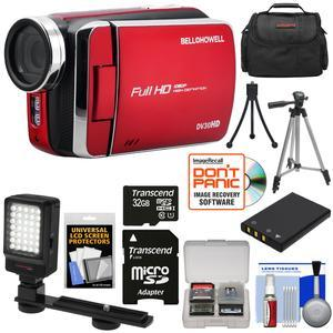 Bell and Howell DV30HD 1080p HD Video Camera Camcorder-Red-with 32GB Card and Battery and Case and Tripods and LED Video Light and Kit