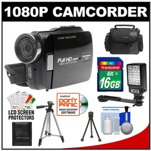 Bell & Howell DV3HD ZoomTouch 1080p HD High Definition Digital Video Camcorder & Case with 16GB Card + Case + Tripod + LED Video Light + Accessory Kit