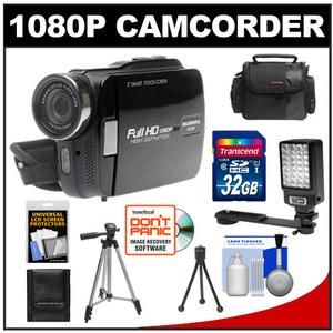 Bell & Howell DV3HD ZoomTouch 1080p HD High Definition Digital Video Camcorder & Case with 32GB Card + Case + Tripod + LED Video Light + Accessory Kit