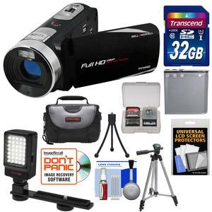 Bell and Howell Fun Flix DV50HD 1080p HD Video Camera Camcorder-Black-with 32GB Card and Battery and Case and Tripods and LED Video Light and Kit