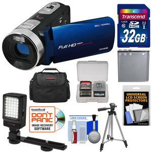 Bell and Howell Fun Flix DV50HD 1080p HD Video Camera Camcorder-Blue-with 32GB Card and Battery and Case and Tripod and LED Video Light and Kit