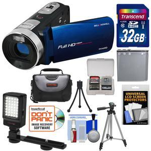 Bell and Howell Fun Flix DV50HD 1080p HD Video Camera Camcorder-Blue-with 32GB Card and Battery and Case and Tripods and LED Video Light and Kit
